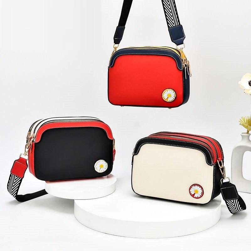 Fashion Luxury Handbags Women Daisy Flowers Shoulder Bag Women Three-level Space Crossbody Bags Large Capacity Small Square Bag