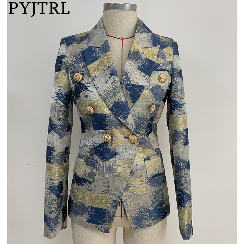 PYJTRL Women Fashion Blazer Jacket Double Breasted Colors Painting Jacquard Blazer
