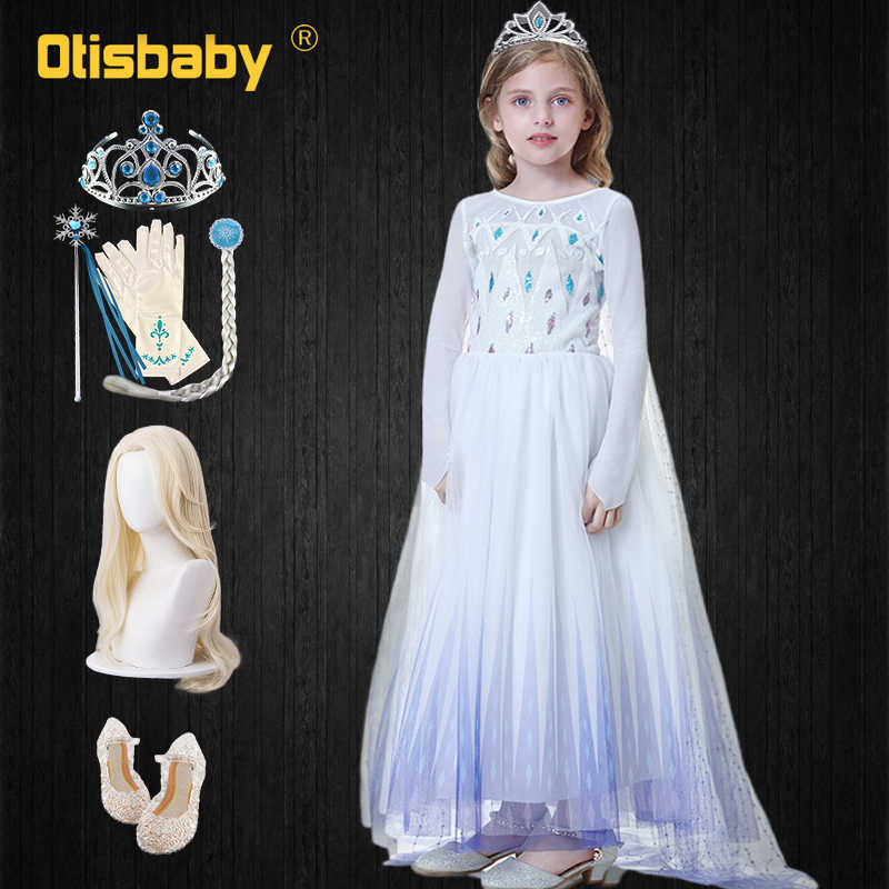 ファンシー床の長さの輝き雪の女王スパンコールエルザ王女の女の子ロングマントエルザパーティーコスプレ衣装 vestidos