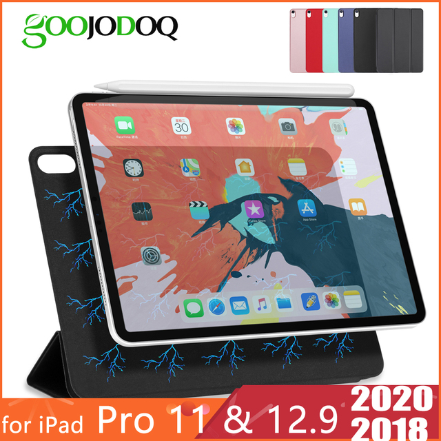 Ipadのプロ11ケース2020 ipadのプロ12.9 2020 2018空気4ケース10.9 funda磁気スマートカバーipadのプロ2020ケースcoque