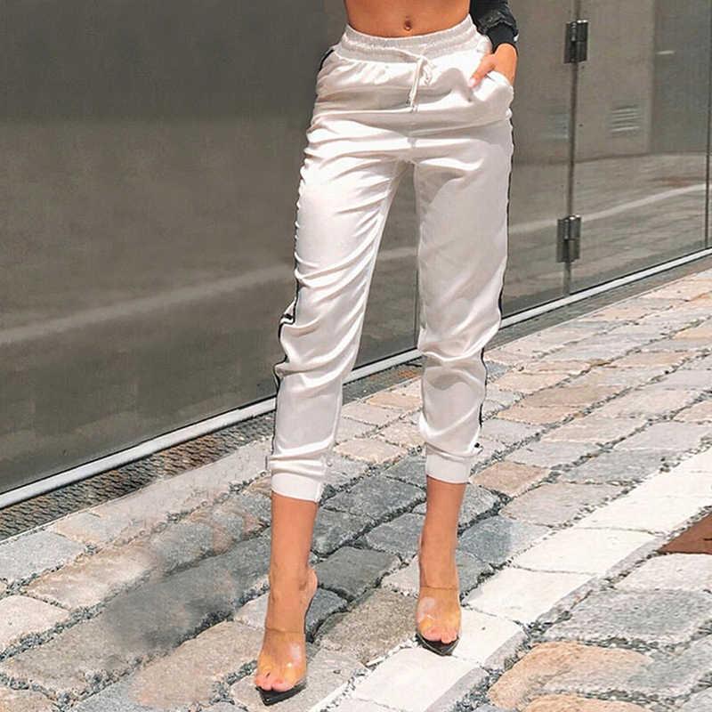Casual feminino calças esportivas cintura elástica solto cordão lápis pantalon femme listrado ginásio estiramento joggers
