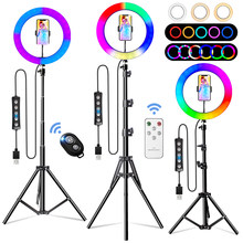 2021 26Cm 10Inch 45 Rgb Ring Light Colors Selfie Ring Lights Tripod Remote Shutter Ring Lamp for Streaming Video Youtube