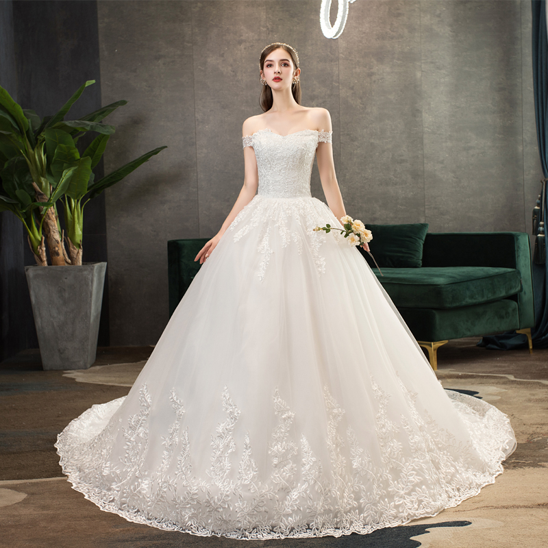 White Wedding Dresses Lace Luxury Bridal Ball Gowns Off-the-shoulder Cathedral Train Lace-up Wedding Dress Vestido De Noiva