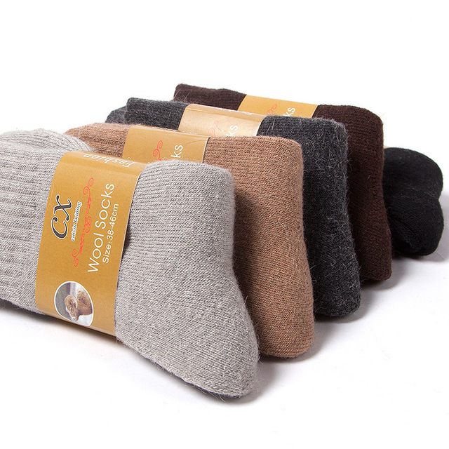 5Pairs/lot Men's Wool Socks Winter Casual Thick Warm Winter Men's Simple Solid Color Socks Male High Quality