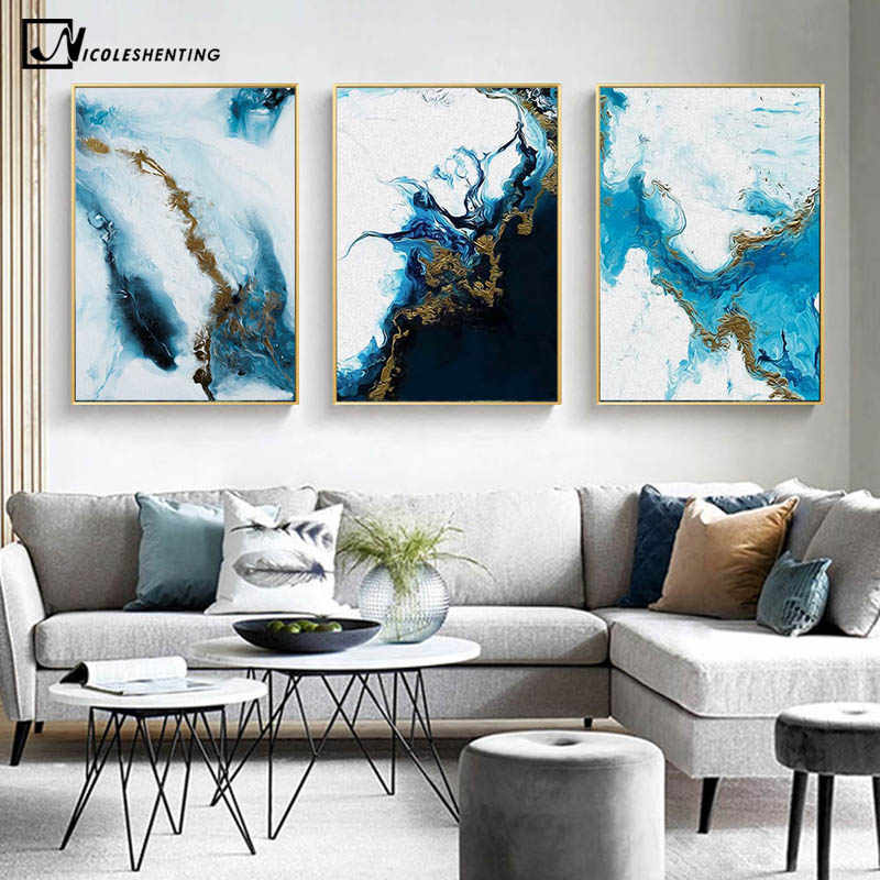 Blue Golden Modern Style Abstract Wall Poster Nordic Canvas Print Painting Contemporary Art Decoration Picture Living Room Decor Aliexpress
