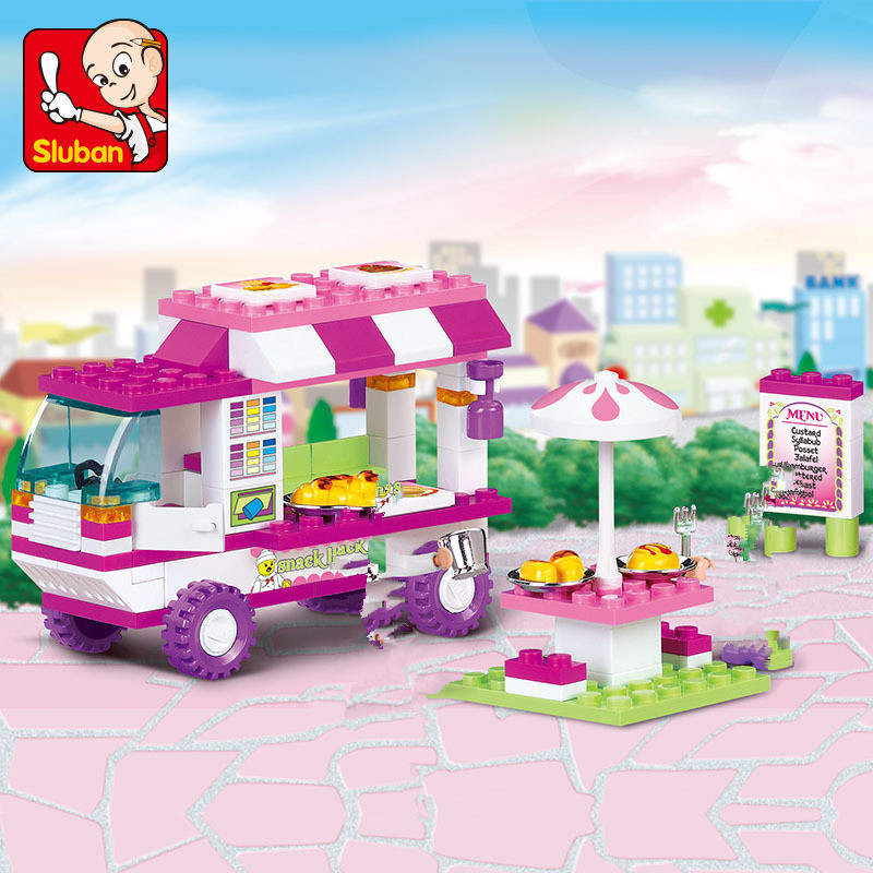 102Pcs City Old Vans Snack House Car Building Blocks Sets Legoinglys Friends Creator Bricks Playmobil Educational Toys For Girls