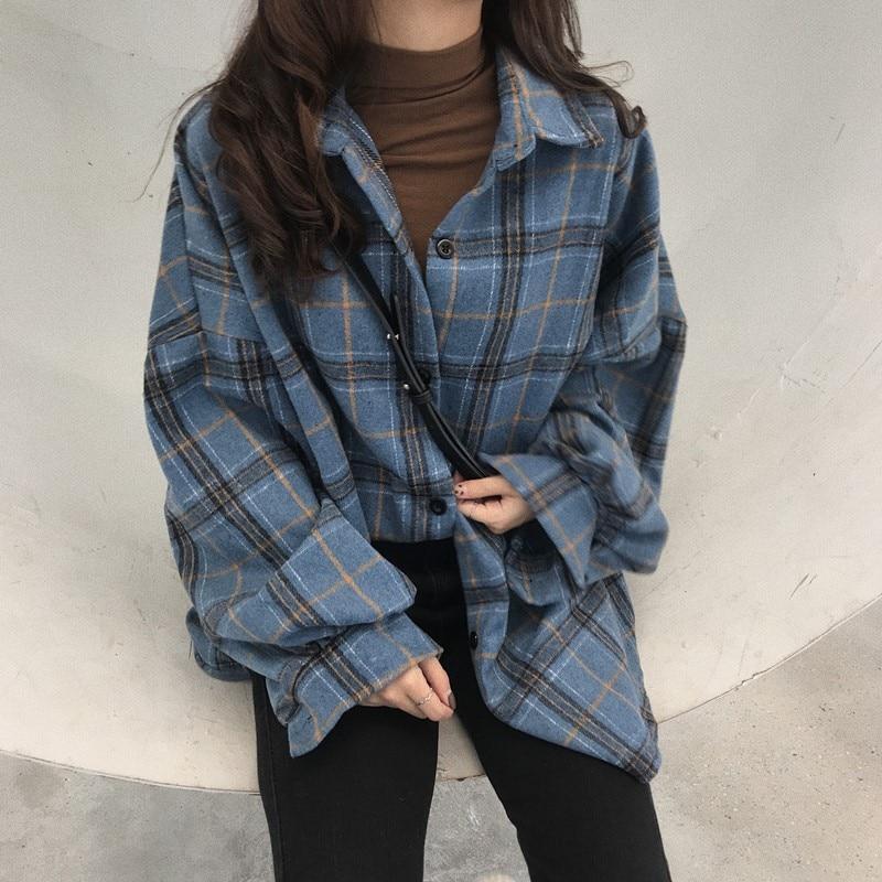 Cheap Wholesale Casual Long Sleeve Shirt Women Plaid Shirt Oversize Korean Wool Shirts Winter Autumn Vintage Shirts Women Female