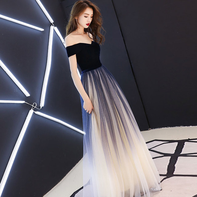 Navy blue elegant Prom party Dresses  Vestido de Festa dress evening long frock robe de mariee robe communion fille robe sequin 3