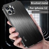 Nuovo per iphone 12 custodia in metallo custodia per cellulare All-Inclusive spazzolata custodia protettiva per telefono cellulare antigoccia e resistente allo sporco