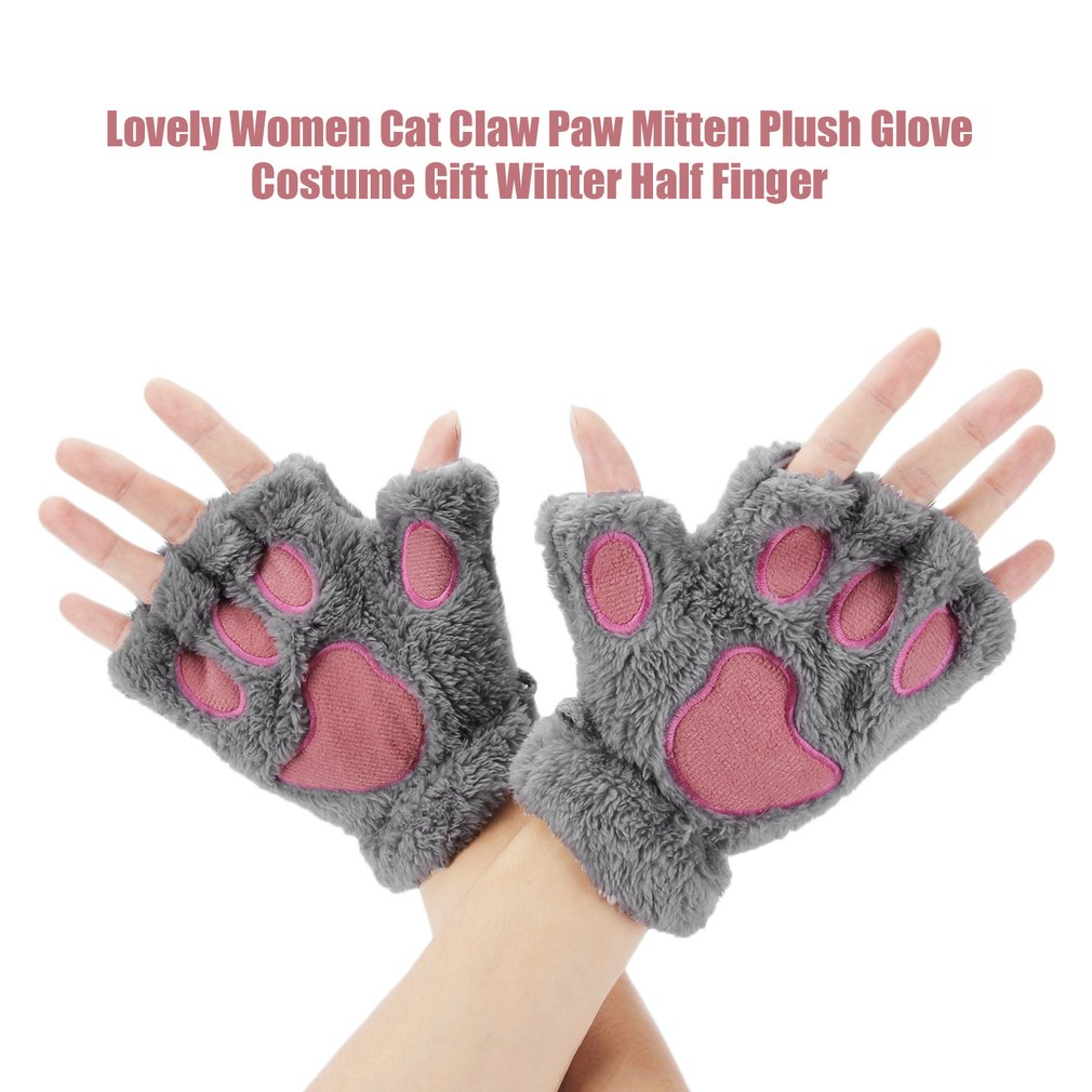 1 Pair Women Girls Warmth Fingerless Plush Gloves Fluffy Soft Warm Stylish Cute Animal Paw Half Finger Covered Gloves For Girls