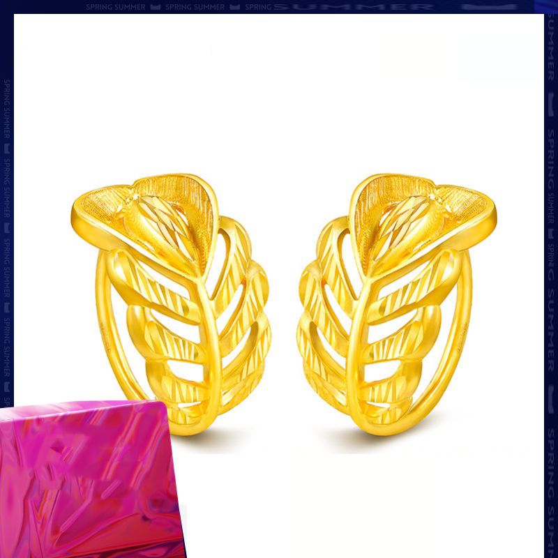 Image 2 - SFE 24K Pure Gold Earring Real AU 999 Solid Gold Earrings Nice Good  Upscale Trendy Fine Jewelry Hot Sell New 2020Earrings   -