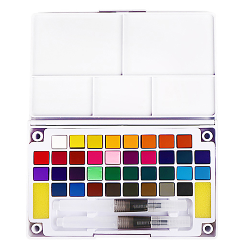 36 Color Solid Pigment Portable Watercolor Paint Set With Brush Pen For Student Painting Art Supplies