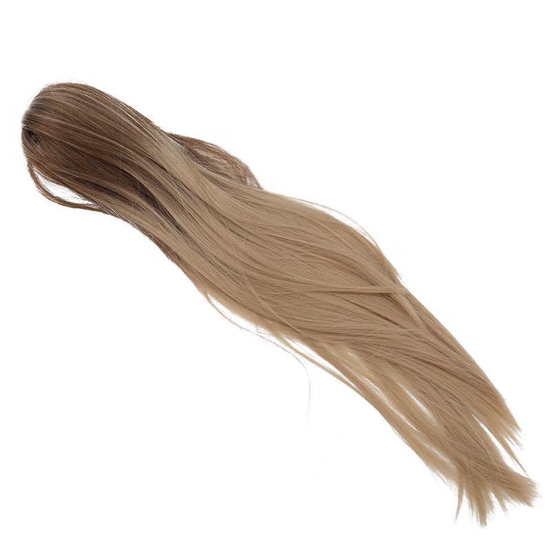 Pinza de cola de caballo de garra larga recta en extensiones de cabello resistente al calor pinza sintética de pelo falso en colas de Pony