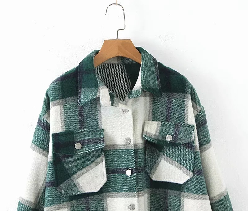 Hfcea18896fa14656b1966186d90698afE 2019 Autumn Winter Plaid Oversize Jackets Loose Causal Checker Streetwear Coat