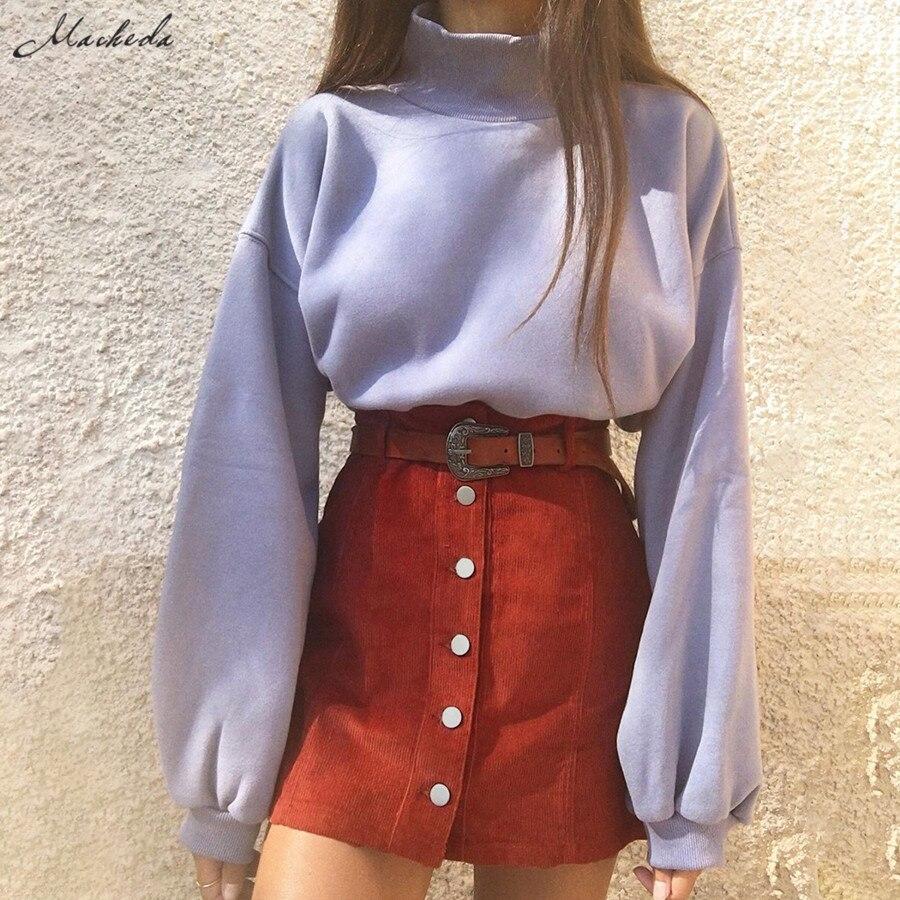 Macheda Fashion Elegant Women's Summer Skirt High Waist Single-breasted Solid Color Slim A-small Skirt Mini Skirt