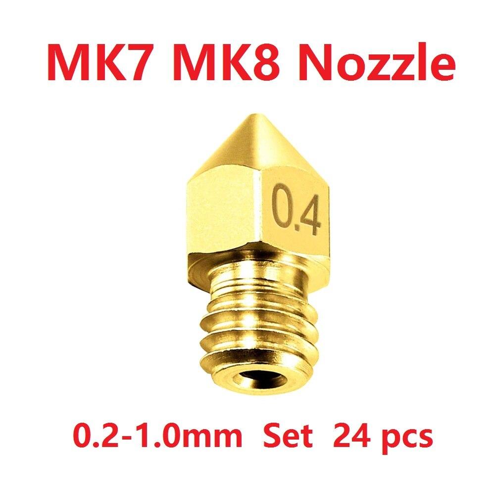 3D Printer Nozzle Mk7 Mk8 Extruder Threaded Nozzle 1.75mm 3.0mm Filament Head Brass 3D Printer Parts