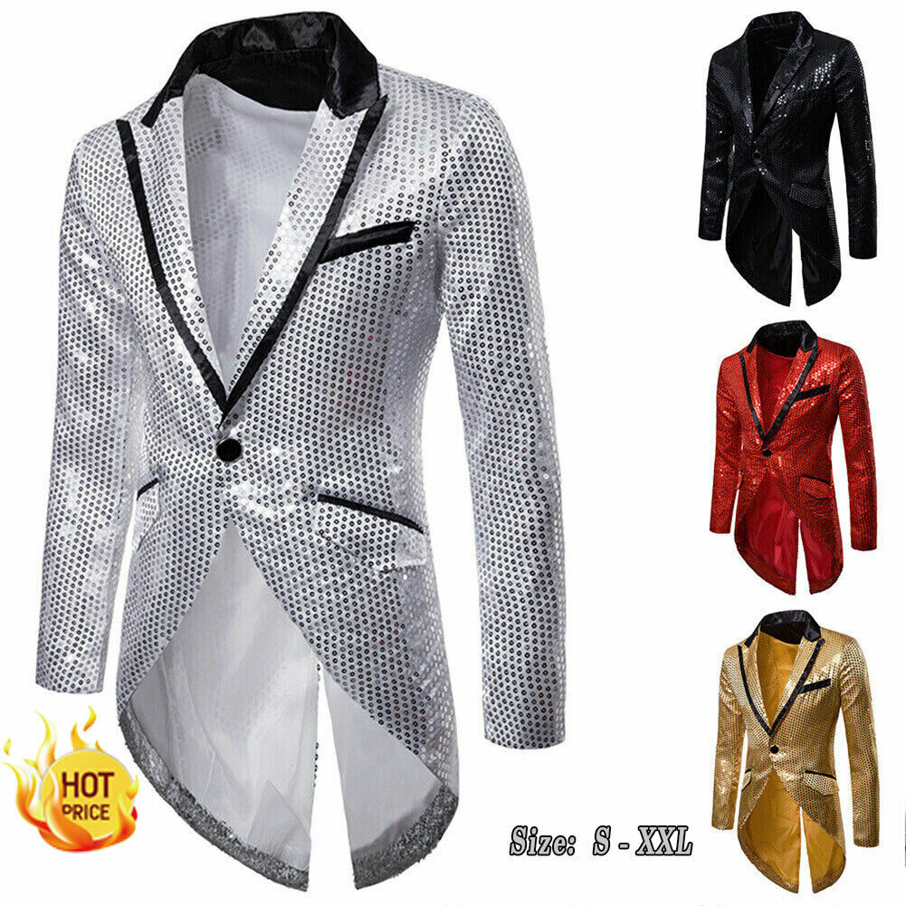 Luxury Wedding Groom 2019 Brand New Men Sequin Slim Blazers Tailcoat Stage Prom Dress Suit Costumes Groom Blazer Dropshipping