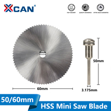 XCAN 1pc 50/60mm HSS Mini Saw Blades Blade with 3.175mm Mandrel Power Tool Accessories Circular Saw Blades Wood Cutter