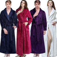Women Men Extra Long Warm Grid Flannel Bath Robe Winter Kimono Bathrobe Luxury Thermal Dressing Gown Bridesmaid Robes Nightgown cheap CN(Origin) Coral Fleece Solid Mid-Calf Full Ankle-Length Men Thick Long Warm Robe piece 0 99kg (2 18lb )