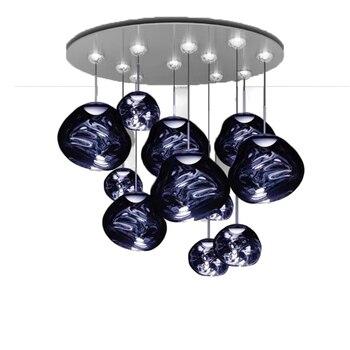 Postmodern Blue Glass Chandelier Lustre Led Lava Living Room Interior Lighting Hang Lamp