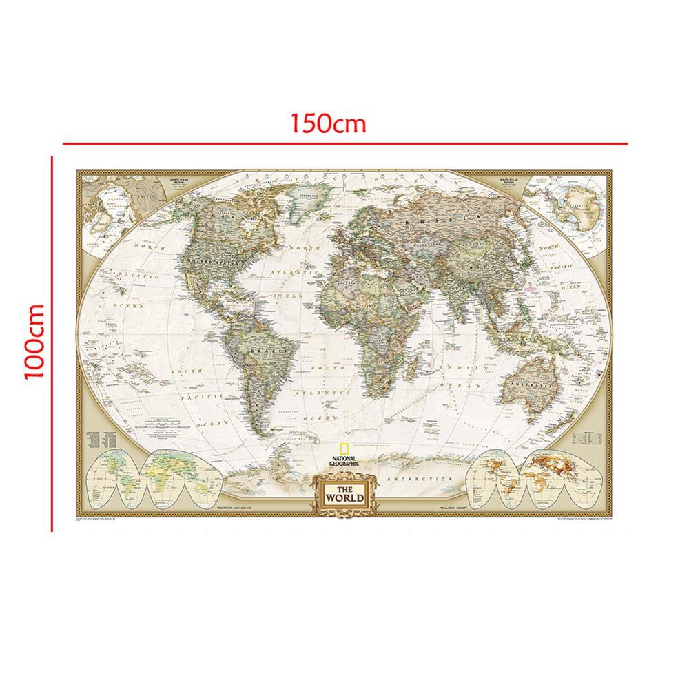 O mapa de pulverização do mundo 150x100cm não-tecido mapa sem bandeira nacional para iniciante
