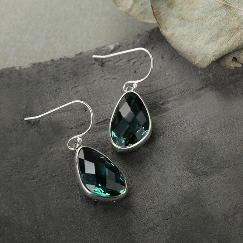 Emerald earrings, Silver earrings, Long And Short Water drops, women's 925 Pure Silver