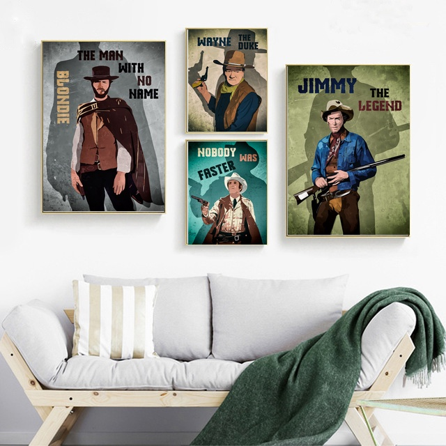 Western movie Stars Art Painting Poste Living Room Decorative Painting image