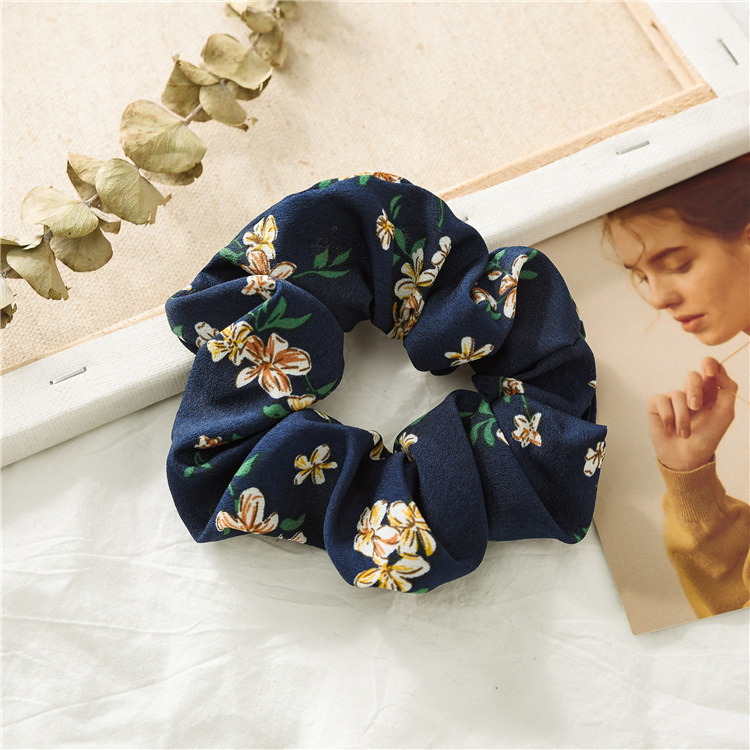2019 New Summer Floral Hair Scrunchie Turban Scrunchie Flower Hairband for Women Ponytail Holder Hair Ties Girl Accessories in Women 39 s Hair Accessories from Apparel Accessories