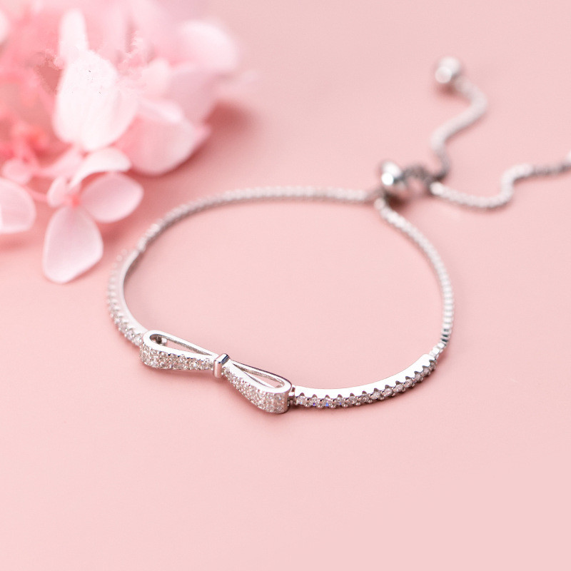 925 Sterling Silver Adjustable Crystal Bowknot Charm Bracelet & Bangle For Women Wedding Jewelry sl105