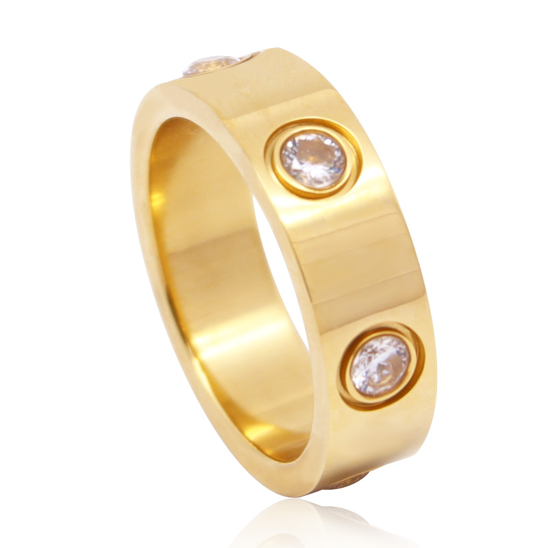 Luxury Shiny Rotating Circle Crystal Ring Stainless Steel Rose Gold Love Ring for Women Engagement gift Brands Ring 3
