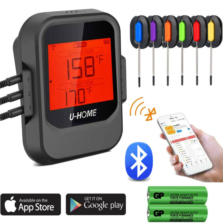 Meat Thermometer, Wireless Remote Digital Cooking Food Thermometer - Magnetic Smart Bluetooth Meat Thermometer With 6 Probe USA