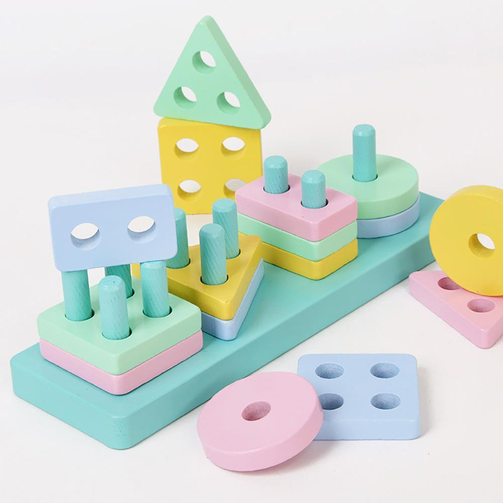 Wooden Educational Toy Geometric Assembling Blocks Kids Stacked Early Learning