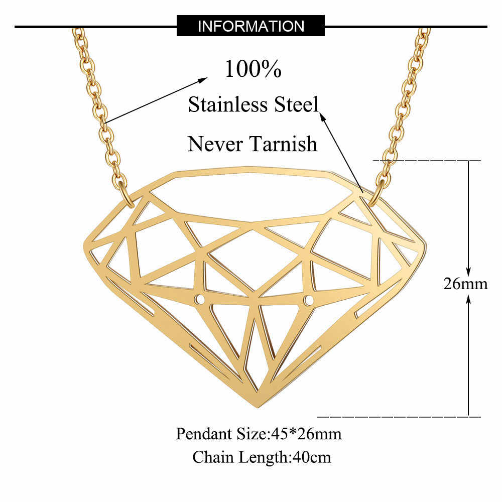 100% Real Stainless Steel Hollow Large Dia-Mon Shaped Necklace Special Gift Amazing Design Personality Jewelry
