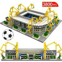 Famous Architecture Diamond Blocks Football Soccer Field Soccer Camp Nou Signal Lduna Park Mini Building Blocks Toys for Kids