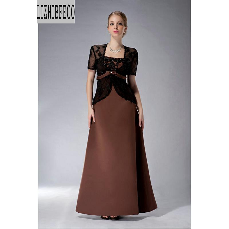 Black Lace  Satin  Floor-Length A-line   Mother Of Bride Dress  With Wrap Custom Made