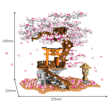 SEMBO City Street View Idea Sakura Inari Shrine Bricks Friends Cherry Blossom Technic Creator House Tree Building Blocks Toys 6