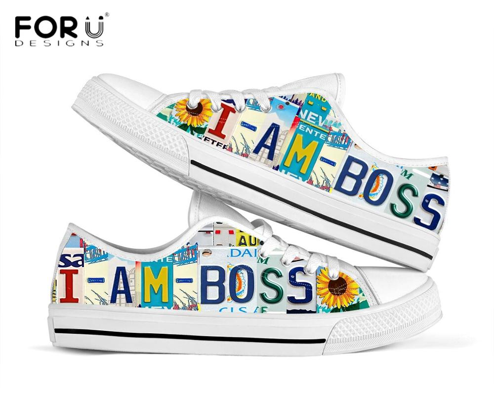FORUDESIGNS I Am Boss Letter Print Men's Low Top Canvas Shoes Casual Spring/Autumn Outdoor Footwear Male Brand Design Sneakers