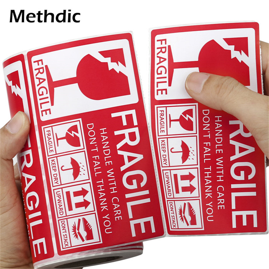 Methdic Fragile Sticker 130x70mm Packaging Shipping Fragile Label Roll