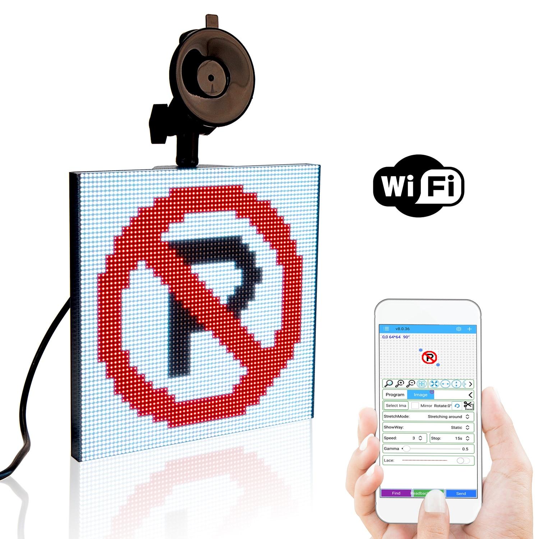 64x64 Led Matrix Car Sign 12V Led Screen Full Color Display Your Custom Messages Sign Maker DIY Display Programmable