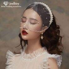 CC velo da sposa perla fasce per capelli veli da sposa eleganti accessori per gioielli per capelli per donna filato morbido romantico 100% fatto a mano AN34