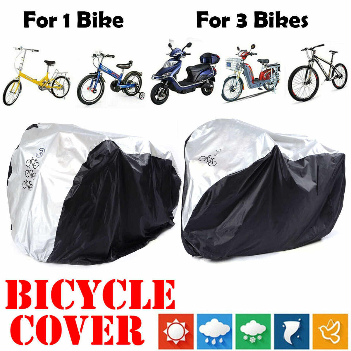 Waterproof Bicycle Motorbike Mountain Bike Cover Rain Dust Resists Protector US