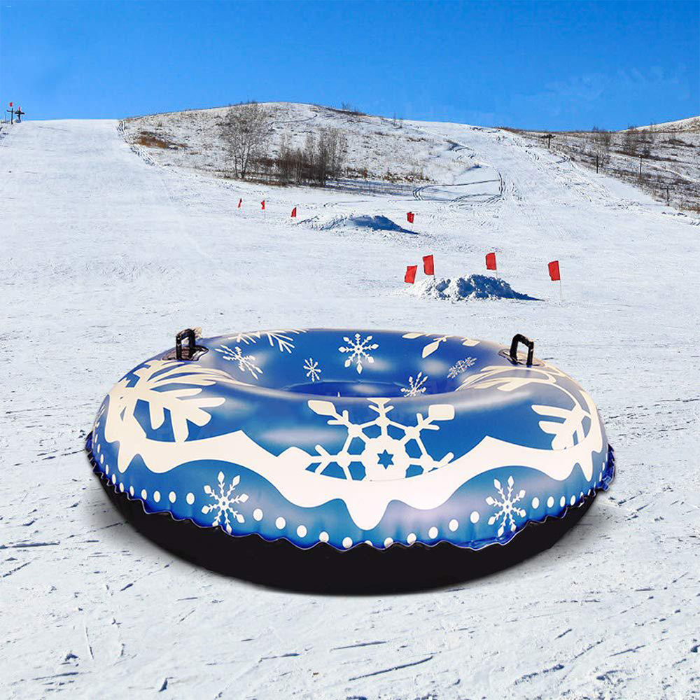 PVC Winter Inflatable Ski Circle Floated Skiing Board With Handle Children Adult Outdoor Snow Tube Skiing Accessories Ski Toy