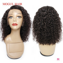 Human-Hair-Wigs Bob-Style Natural-Color Water-Curly Brown Lace-Front Non-Remy-Hair 150%Density