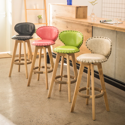 Bar Chair Solid Wood Bar Chair Front Chair Modern Simple Milk Tea Shop High Stand Household Rotary Creative Bar Chair