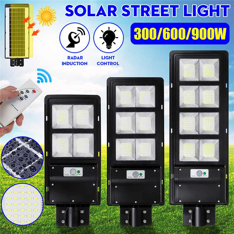 300W 600W 900W IP65 LED Solar Street Light Radar Motion Wall Lamp no/ with Remote Control for Villas Garden Yard Offroad