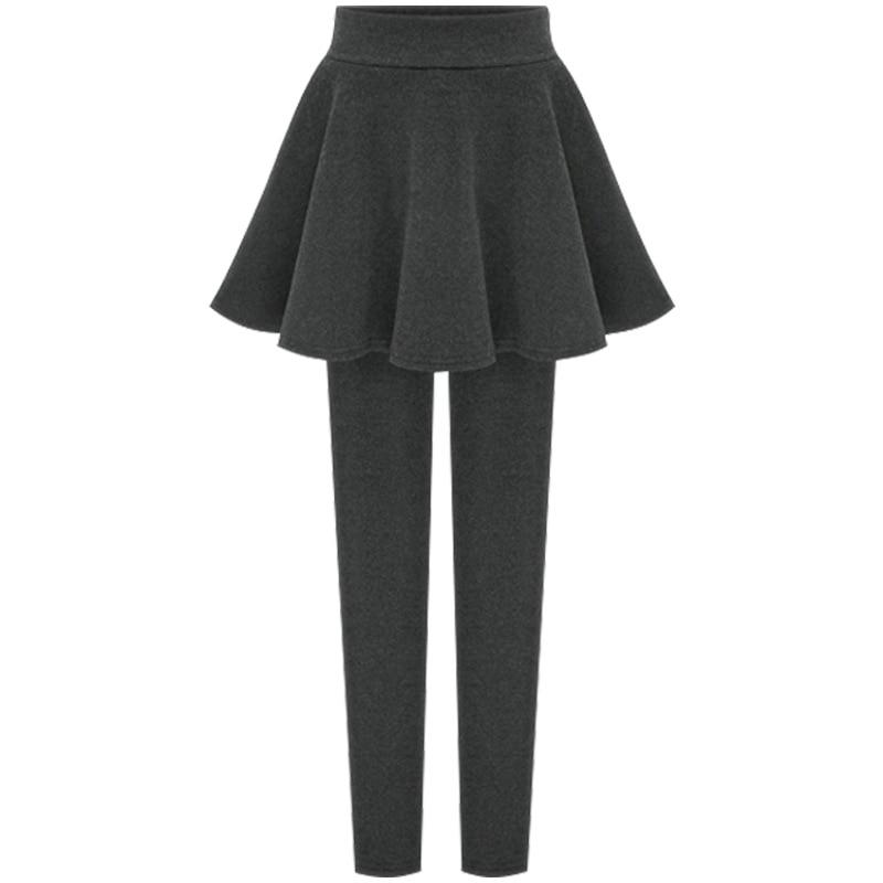 Autumn Winter Warm Leggings With Skirt Women Plus Velvet Thick Pleated Skirt Pants Large Size 5xl 6xl Cashmere Pantskirt Ladies