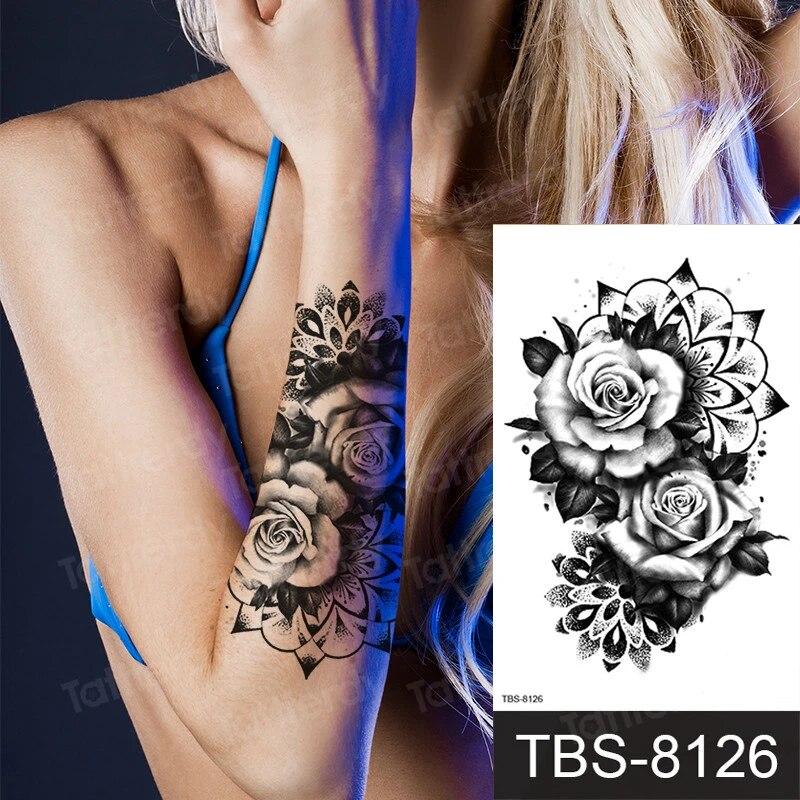 Peony Rose Temporary Tattoo Stickers Women Body Art Tattoo Girl Back Breast Tatoos Flower Dreamcatcher Mandala Tattoo Henna Lace Temporary Tattoos Aliexpress