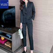 Black Women Suit Blazer 2 Piece Office Set Pants Notched Collar Single Breasted Pocket Elegant Fashion Buisness Formal Suits