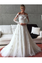 цена на Wedding Dresses Bridal Gown Off The Shoulder Long Sleeves Lace Charming A-line Bride Dress Appliques