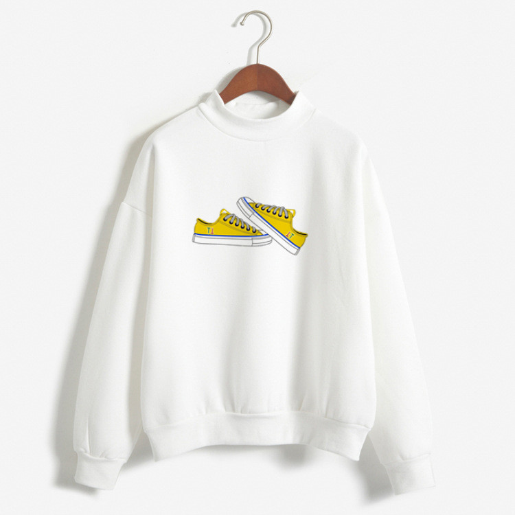 Women Hoodies Long Sleeve Autumn Out-wear Tops With Yellow Canvas Shoes Pattern Print Hoodies Ladies Girls Pullover Preppy Style